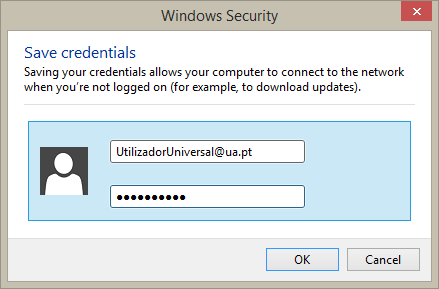 Save credentials screen