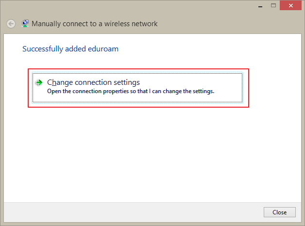 Change connection settings link