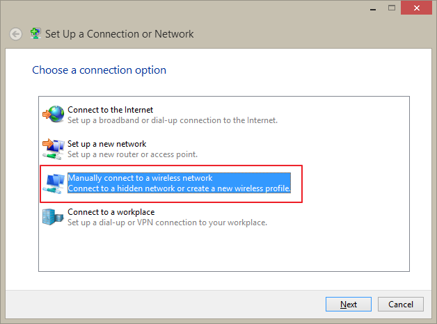 Manually connect to a wireless network link